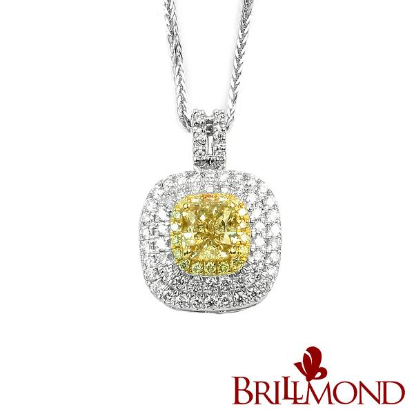 彩鑽 鑽石項鍊 【BRILLMOND JEWELRY】極致豪華一克拉彩鑽墜(Fancy Light Yellow 18K金台)