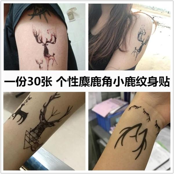 限定款刺青貼紙刺青貼個性麋鹿角小鹿男女防潑水持久5天可愛動物情侶刺青貼紙手臂