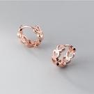 925純銀 鏤空愛心心型 耳環耳圈扣-銀、玫瑰金 防抗過敏
