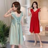 漂亮小媽咪 棉麻洋裝【D7212】 韓系 棉麻 無袖 純色 背後 綁帶 飛袖 V領 孕婦裝 洋裝
