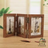 三折木質相框相片框擺臺復古6寸雙面折疊相架文藝【步行者戶外生活館】