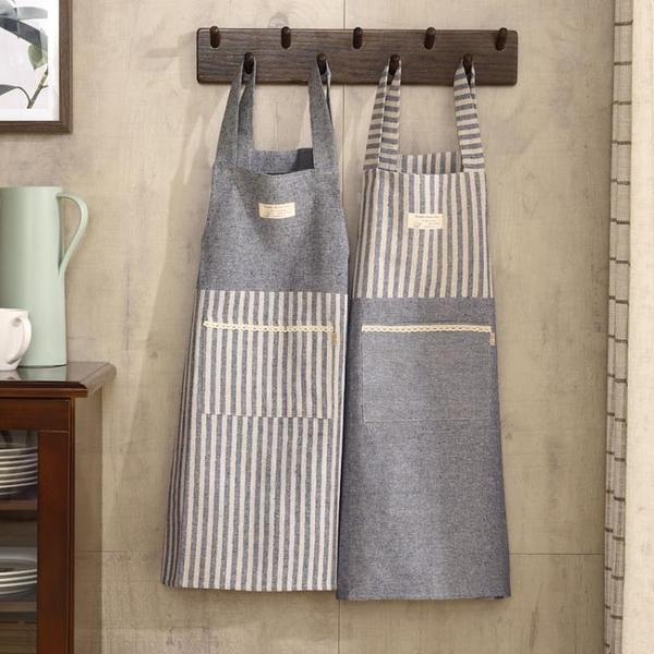 圍裙家用廚房防油成人日式工作服棉麻做飯罩衣【聚寶屋】
