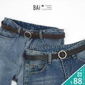 皮帶 純色霧面款金屬圓環穿式皮革腰帶-BAi白媽媽【196119】