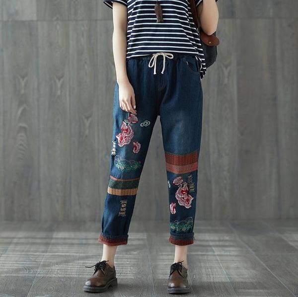 降價兩天 民族風刺繡花 文藝復古寬鬆大尺碼貼布做舊卷邊牛仔褲