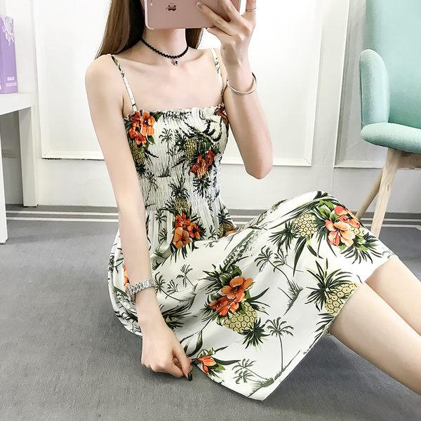 【GZ72】吊帶裙綿綢碎花印花海邊度假沙灘裙連身長裙洋裝