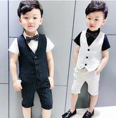男童禮服  夏季婚禮小伴郎寶寶西裝套裝帥氣英倫風可愛兒童鋼琴表演 LXY141【野之旅】