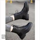 黑色馬丁靴女2020新款秋冬百搭內增高英倫風瘦瘦短靴雪地棉鞋 童趣屋