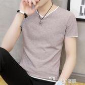 T恤 夏季男士丅恤短袖t恤v領半袖青少年體恤韓版潮流衣服潮牌打底衫 3C優購