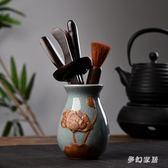 茶具配件 陶瓷功夫茶道陶瓷黑檀木茶道六君子茶藝 FR4052『夢幻家居』