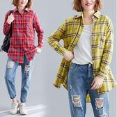 韓版時尚長袖303新款寬鬆大碼胖妹妹百搭帥氣上衣顯白格子襯衫F3081皇潮天下