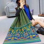 羊毛絨長披肩-古典風格花朵圖案女圍巾73hy54[時尚巴黎]