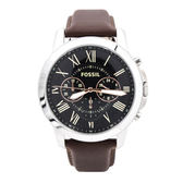 FOSSIL (FS4813) 時尚 三眼計時 男錶 手錶 咖啡皮帶/44mm