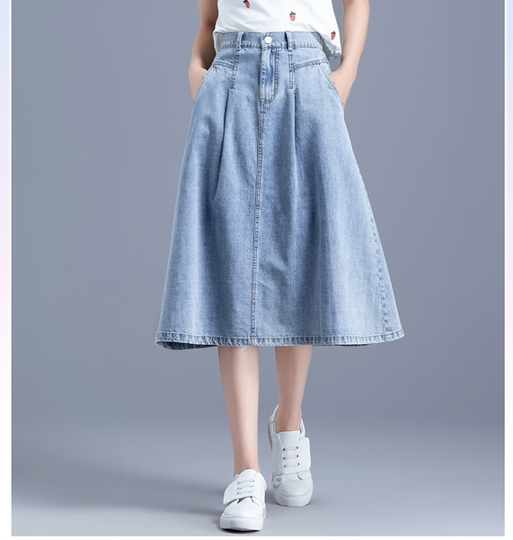*ORead*復古做舊純色半鬆緊腰天絲牛仔半身裙(藍色S~XL)