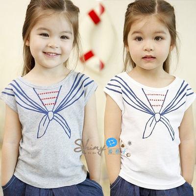 【R1682】shiny藍格子-嬰幼館。夏裝女童領結短袖T恤