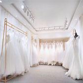 收納架收納櫃置物架婚紗架影樓專用展示架禮服架子旗袍鐵藝挂衣架高檔落地歐式道具xw