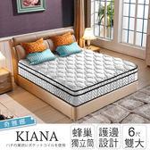 IHouse-奇雅娜 護邊平三線蜂巢獨立筒床墊-雙大6x6.2尺