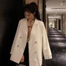 新款網紅白色西服上衣女春季秋韓版垂感chic小西裝外套ins潮 雙十二全館免運