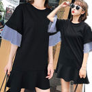 韓風寬鬆條紋喇叭袖連身裙/洋裝 S-L碼【D927474】