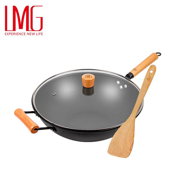 贈木鏟▶LMG長野不沾熟鐵鍋34cm加蓋