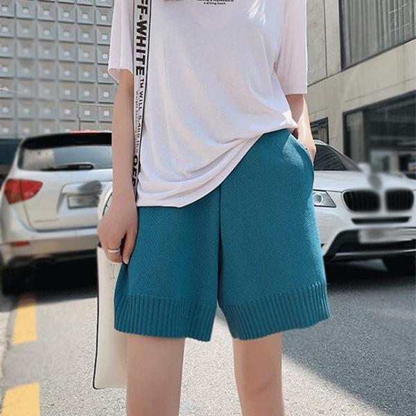 新款夏裝潮網紅短褲女寬鬆闊腿外穿直筒高腰顯瘦五分褲針織休閒褲 伊蘿 618狂歡