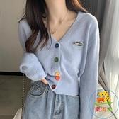 針織衫秋冬女裝開衫外套復古寬鬆外穿日系毛衣
