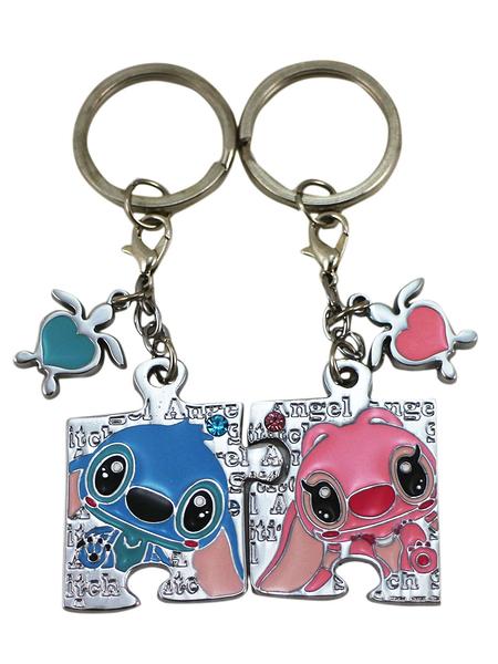 【卡漫城】 史迪奇 拼圖 鑰匙圈 兩入組 ㊣版 星際寶貝 男女朋友 情侶 禮物 吊飾環 水鑽 迪士尼