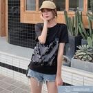 2021夏裝新款韓版假兩拼接亮片黑色短袖T恤女 微愛家居生活館