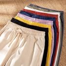 潮流女褲 棉麻褲子女夏季春休閒哈倫寬鬆九分薄款小腳蘿卜亞麻直筒工裝長褲