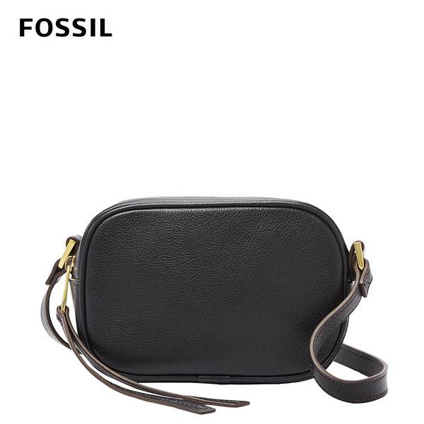 FOSSIL MAISIE真皮立體斜背包-黑色 SHB2419001
