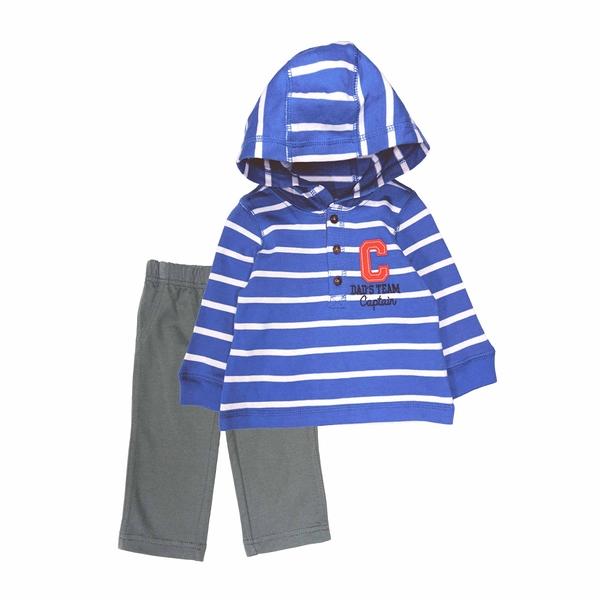 男寶寶套裝二件組 長袖薄連帽上衣+長褲 藍白橫條 | Carter s卡特童裝 (嬰幼兒/小孩/baby)