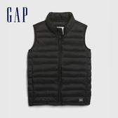 Gap男童 時尚潮流絎縫拉鍊棉背心 592731-黑色