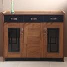 餐邊櫃現代簡約柚木色茶水櫃儲物櫃碗櫃櫥櫃...