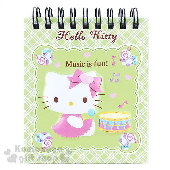〔小禮堂〕Hello Kitty 線圈立體筆記本《綠.迷你.坐姿.打鼓.音符》 4718598-77906