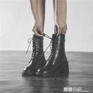 馬丁靴女2020新款百搭英倫風帥氣機車靴粗跟高跟單靴中筒 露露日記