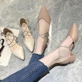 尖頭高跟鞋仙粗跟單鞋百搭中跟氣質單鞋女淺口晚晚鞋淑女涼鞋 LR23232『3C環球數位館』