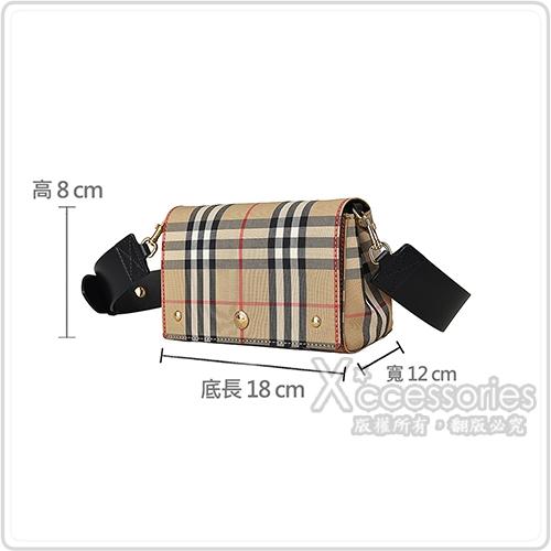 Burberry VINTAGE金字壓印LOGO格紋帆布扣式斜背包(小/米x黑)