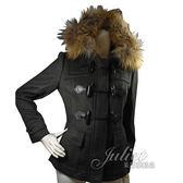 茱麗葉精品 全新精品 BURBERRY 簡約英倫風高貴典雅羊毛連帽大衣外套.墨綠