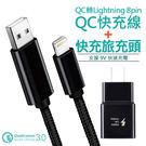 Apple Lightning 8pin 15W QC 快速充電線+原廠 SAMSUNG S8/S8+ USB充電器 iPhone X/8 30分鐘充電50%