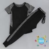 瑜伽服夏季新品健身房運動服女短袖寬鬆瑜伽服套裝速干哈倫褲跑步服