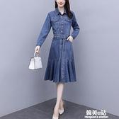 牛仔洋裝 長袖牛仔洋裝女年秋裝新款中長款繫帶收腰顯瘦氣質襯衫裙子 韓美e站