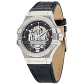 MASERATI 瑪莎拉蒂/POTENZA/鏤空機械簡腕錶-黑X銀/42mm/R8821108001