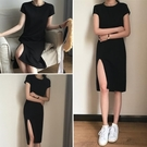 DE shop - 顯瘦側開叉小黑裙洋裝連身裙 - HL-102