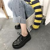 學生韓版百搭黑色軟妹小皮鞋
