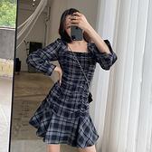 大碼長袖洋裝 禮服 連身裙L-4XL3901胖mm時尚氣質顯瘦格子折皺長袖連身裙子4F093 胖妞衣櫥