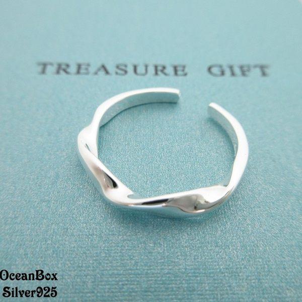 ☆§海洋盒子§☆細版交叉造型開口式純銀戒指 《925純銀》