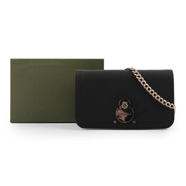 【LONGCHAMP】CAVALCADE 牛皮皮夾式鍊帶斜背包(黑色) L4559 HNA 001