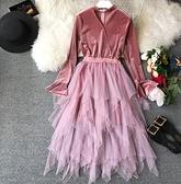 紅色洋裝 法式連身裙秋裝2018新款修身中長款復古桔梗網紗裙