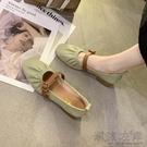 仙女風單鞋女年秋季新款懶人奶奶鞋中粗跟豆豆鞋淺口晚晚鞋女