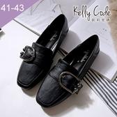 大尺碼女鞋-凱莉密碼-復古皮帶扣飾柔軟皮紋方頭樂福鞋1cm(41-43)【BP777-6】黑色