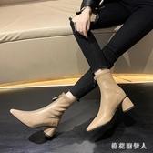 粗跟短靴馬丁靴女2019秋季新款尖頭彈力靴前拉鏈中筒瘦瘦靴短靴女單靴 PA10770『棉花糖伊人』